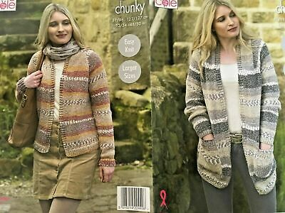Knitting Pattern KING COLE 4599 Drifter Chunky Ladies Cardigan Jacket Up To 50in • 3.49£