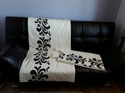 Next Cream With Black Patterns Fully Lined Tab Top Curtains W53 X 54L • 18.99£
