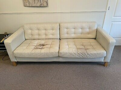 REDUCED To CLEAR Ikea Landskrona Sofa In White Leather 3 + 2 Seater Set • 99.99£