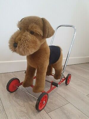 Rare Vintage Merrythought Airdale Terrier Push Along Toy Dog Amazing Condition  • 200£