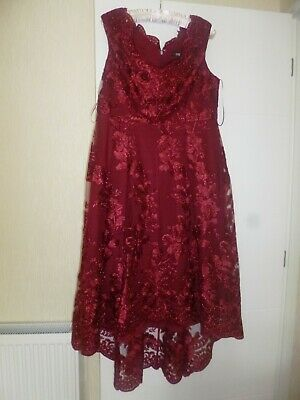 Worn Once For A Wedding Quiz Dress Size Uk 18 Style High / Low Colour Dark Red • 40£