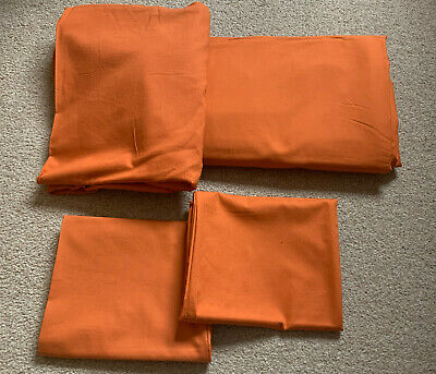 Ikea 'DVALA' Orange Single Duvet Cover, Fitted Sheet & Two Pillowcases • 10£