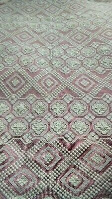 Large Vintage Shabby Chic Crochet Lace  Bedspread Throw Curtain Table Cloth Vgc • 16.99£