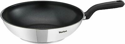 £29.99 • Buy Tefal Non-stick Wok Comfort Max Stainless Steel 28cm Silver Suitable All Hobs