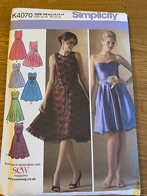 Simplicity  K4070 Ladies Summer Party/ Dress  Dressmakers Pattern  Size 6-14 • 4.30£