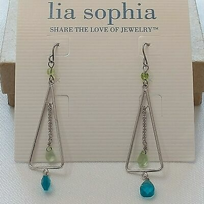$ CDN23.98 • Buy Lia Sophia Fantasy Island Silver Dangle Drop Earrings Blue Green Stones