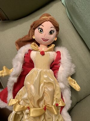 Disney Store Belle Plush Doll Soft Toy - Winter Edition - No Hat • 7£