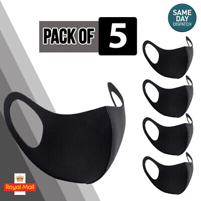 £3.69 • Buy 5 Black Face Masks Reusable Washable Stretchable Face Protection/Covering PPE UK