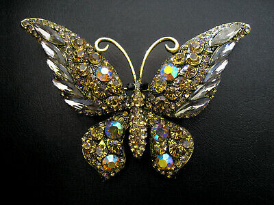 Large Gold Ab Champagne Brown Crystal Butterfly Brooch - Wedding Evening Dress • 20£