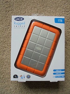 Lacie Rugged Triple 1TB External Hard Drive With USB 3 And Firewire 800 Ports. • 31£