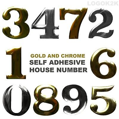 £2.49 • Buy Self Adhesive House Number Door Plaque Sign Chrome Home Letter Apartment Gate