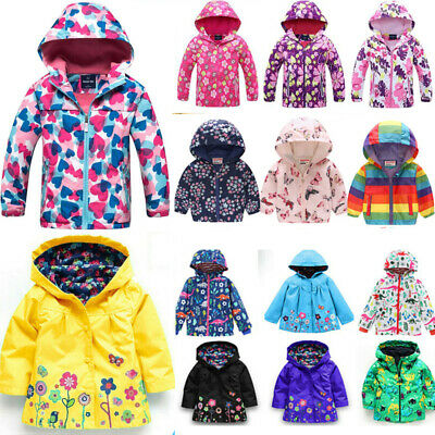 Toddler Kids Girls Boys Hooded Raincoat Coat Jacket Snow Windproof Tops Clothes • 10.59£