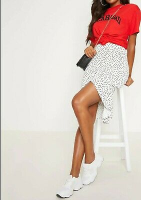 White Polka Dot Frill Midi Skirt • 10£