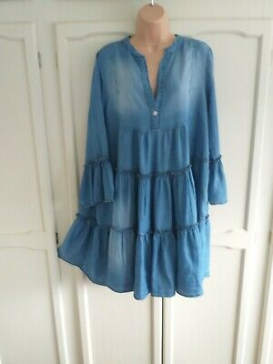 Gorgeous Lagenlook Tiered Chambray Blue Dress By Made In Italy, 14 / 16 / 18  • 6.50£