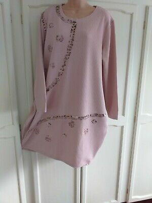Gorgeous Dusky Pink Lagenlook Dress By Made In Italy, 14 / 16 / 18, Applique  • 5.25£