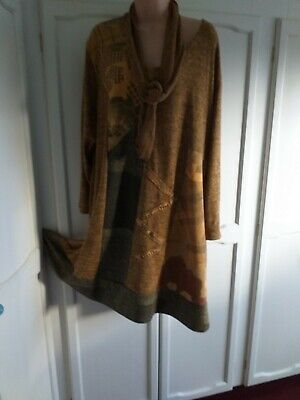 Gorgeous Mustard Lagenlook Dress/scarf   Made In Italy 18/20 / 22 / 24, Wool Mix • 6.50£