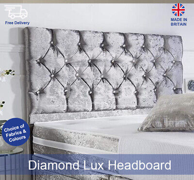 Diamond Lux Crushed Velvet Headboards, Divan Headboard Single, Double, King Size • 49.99£