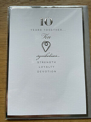 10th Wedding Anniversary Card, Still In Wrapper With Envelope • 1£