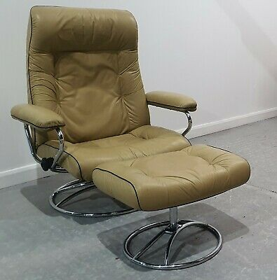 £595 • Buy Ekornes Stressless Retro Swivel Recliner Leather Chair And Stool 240221