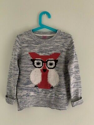 Girls Cute Owl With Glasses Jumper 5-6 Years • 3£