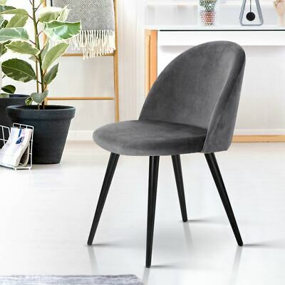 AU89.75 • Buy 2 Pcs Modern Dining Chairs Soft Velvet Wide Seating Solid Iron Legs Dark Grey