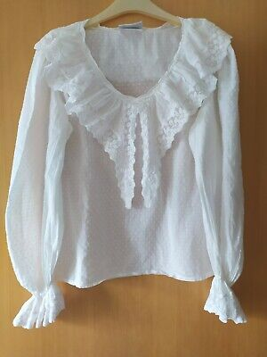 Vintage Laura Ashley Cotton Blouse With Lace Collar And Cuffs, Size 14 • 89.78£
