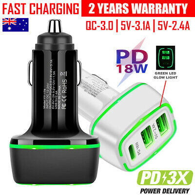 AU14.99 • Buy PD USB Type C Fast Charging Car Charger  IPhone 12 11 Pro Max XS XR 7 8 6 Plus