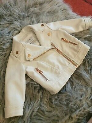 Baby Girls 3-6 Months Baby Leather Jacket White Rose Gold • 4£
