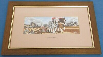 Vintage Cash Shire Horses Woven Silk Picture  Framed Ploughing Farming England  • 29.99£