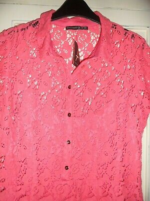 BNWT Size 14 Coral Lace Dress, Side Zip And Front Button Detail Label Is A 16 • 4.99£