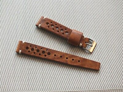 Genuine Craft Leather Vintage Rally Watch Strap 18mm Tan Brown  By Geckota • 6.50£