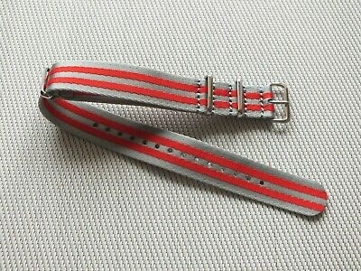 Seatbelt Nylon G10 Military Watch Strap 20mm Silver Grey & Red • 3.99£