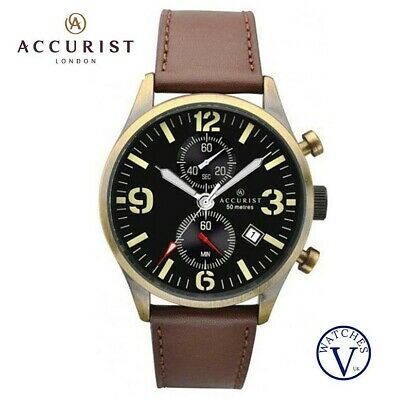Accurist Men's Brown Leather Strap Chronograph Watch With Date Display 7023 • 60.99£
