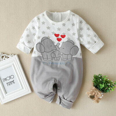 $10.50 • Buy Infant Baby Boys Girls Long Sleeve Cartoon Print Romper Jumpsuit Clothes Outfits