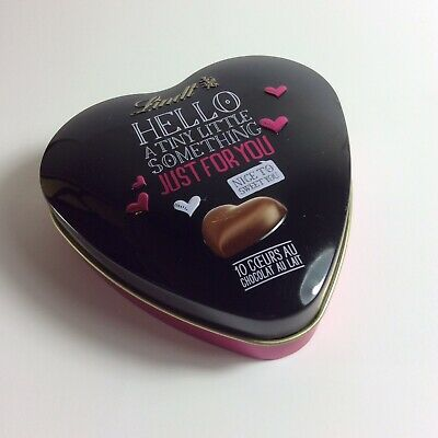 Heart Shaped Empty Lindt Chocolates Tin, Black And Pink • 4.99£