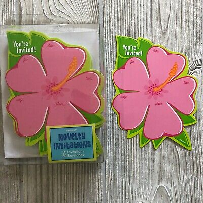 32 Hibiscus Shaped  You're Invited  Party Invitations Hawaiian Luau & Envelopes • 7.07£