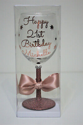 £7.99 • Buy Personalised Name Happy Birthday Glitter Wine Glass 18th 21st 30th  Rose Gold B