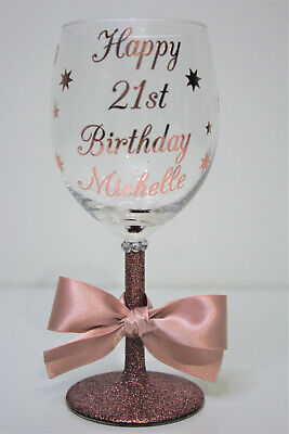 Personalised Happy Birthday Glitter Wine Glass 18th 21st 30th Rose Gold Style 2 • 7.99£