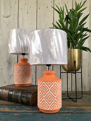 Brand New Stunning Pair Of Geometric Print Terracotta Rustic Style Table Lamps • 54.95£