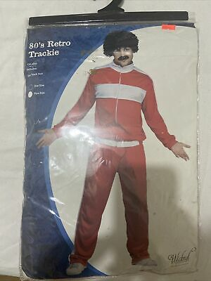 80's Retro Trackie Tracksuit Shell Suit Costume Mens Fancy Dress Outfit Wig 80s • 9.90£