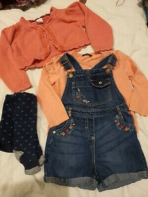 Girls Denim Dungarees Bundle 3-4 Years Outfit Top With Tights, Jasper Cardigan • 1.70£