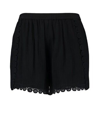 Boohoo Plus Chenille Lace Flower Trim Shorts - Size 24 BNWT BLACK • 2.99£