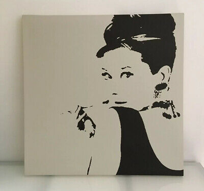 Audrey Hepburn Large Mounted Canvas Modern Wall Art Ikea Picture Size 89 X 89 Cm • 30£