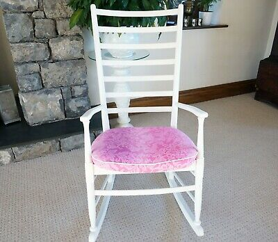 £125 • Buy Mid Century 1970's White Ladder Back Chair With Designers Guild Pink Fabric