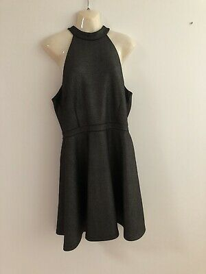 AU22 • Buy Black / Silver  Midi Sleeveless Lined  Dress Size16 Stretchy Fabric Forever New