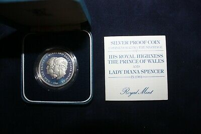 1981 Royal Mint Marriage Of Prince Charles & Lady Diana Spencer Silver Coin COA • 22£