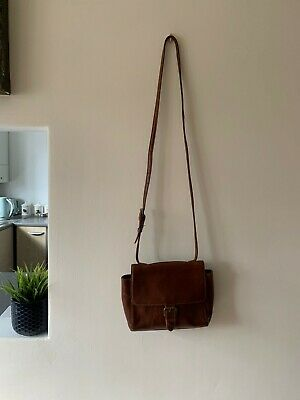 Women's Fat Face Brown Leather Small Cross Body Bag | Shoulder Strap FatFace Tan • 25£