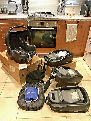 Maxi Cosi CabrioFix, Muff, Raincover & 3x FamilyFix Isofix (read Description) • 109.95£
