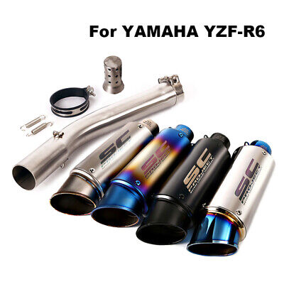 $103.18 • Buy For Yamaha YZF-R6 1999-2005 Motorcycle Slip On Exhaust Muffler Pipe Middle Tube
