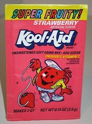 Vintage 90s Kool Aid Super Fruity Strawberry Soft Drink Mix Unopened Packet • 8.55£